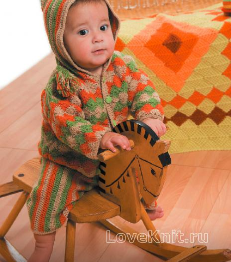 Как связать  детский жакет и штанишки