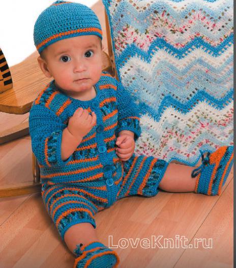 Как связать  комбинезон для детки и шапочка
