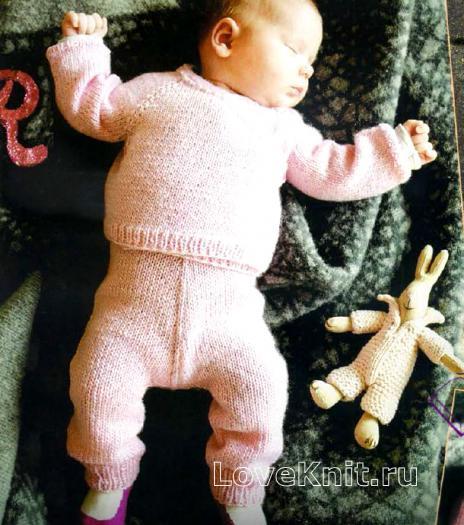 Как связать  комплект из кофточки и штанишек для младенца