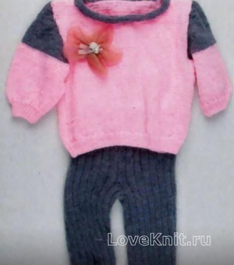 Как связать  костюм из кофточки и штанов для девочки 1,5 лет