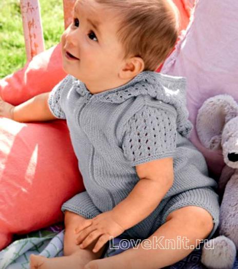 Как связать  полукомбинезон для ребенка с ажурным капюшоном