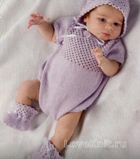 Как связать  розовое боди для младенца