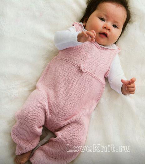 Как связать  розовый комбинезон для ребенка без рукавов