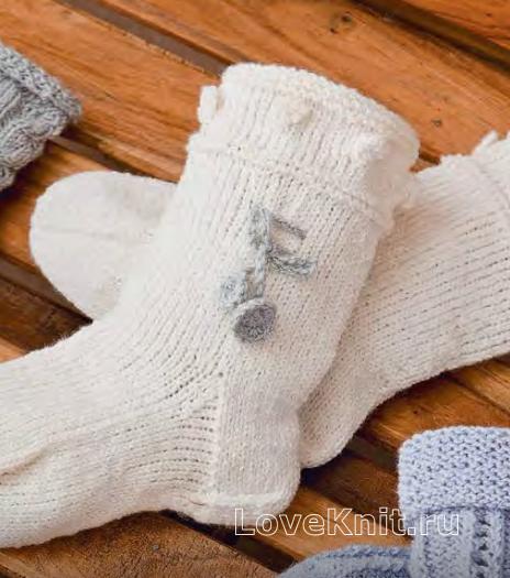 Как связать  высокие носки с шишечками