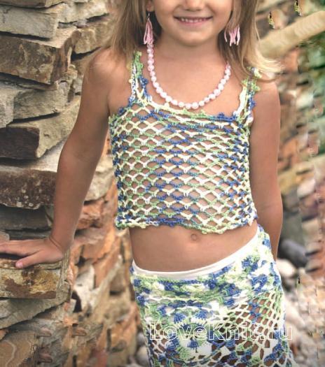 Как связать крючком детский комплект из юбка и топа