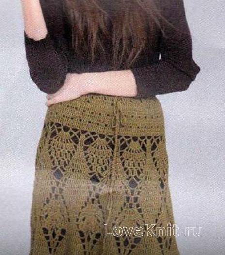 Как связать крючком длинная ажурная юбка на завязках