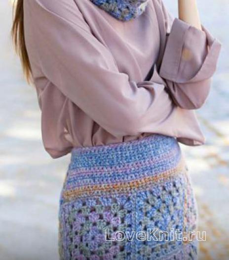 Как связать крючком юбка пэчворк до колена