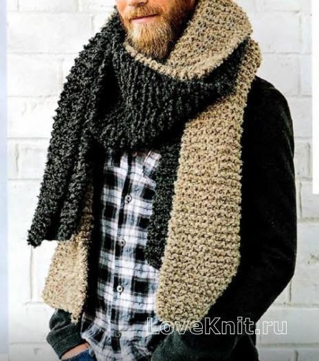 Как связать  двухцветный удлиненный шарф