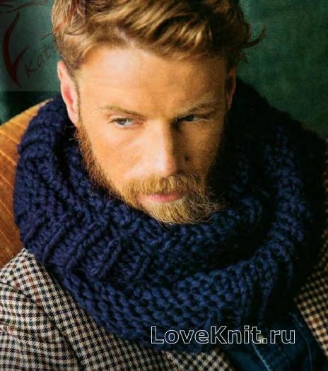 Как связать  простой объемный шарф-снуд