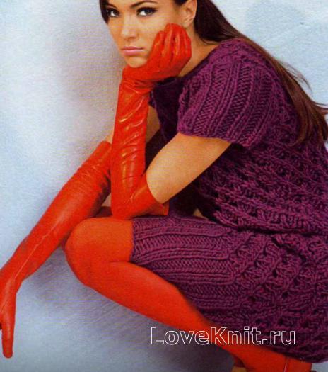 Как связать спицами ажурное платье длиной до колена