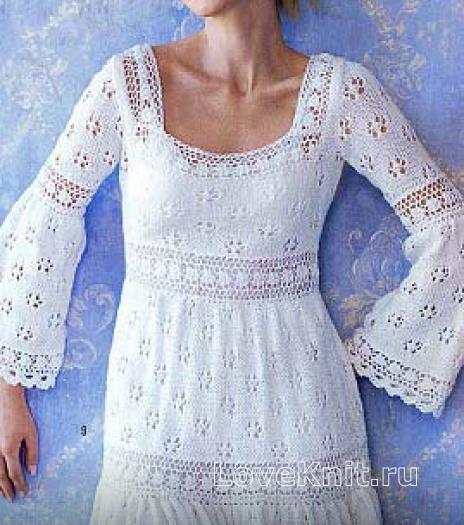 Как связать спицами ажурное платье с рукавом клеш