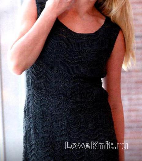 Как связать спицами ажурное платье-туника без рукавов