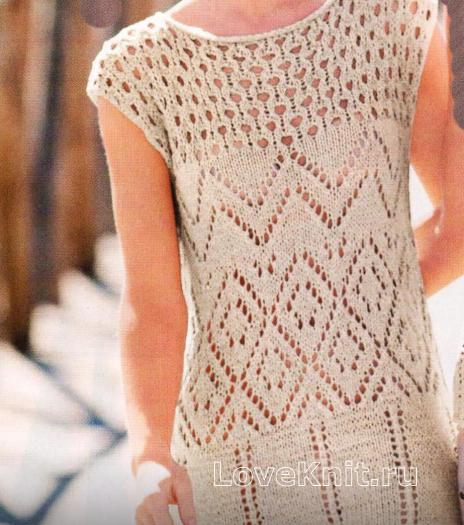 Как связать спицами ажурное платье с узорами