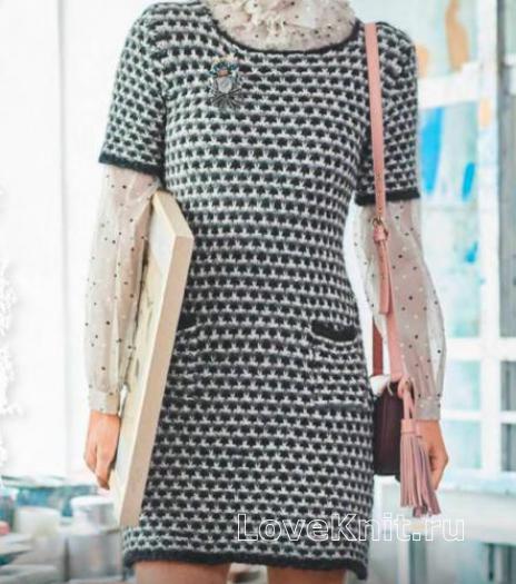 Как связать спицами цветное платье в стиле шанель