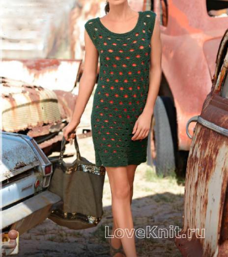 Как связать спицами фактурное платье с крупными отверстиями