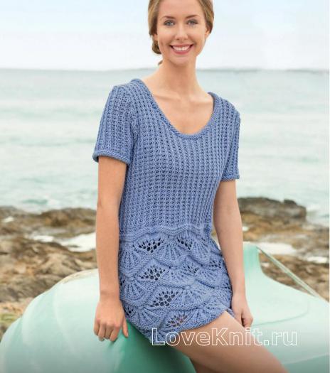 Как связать спицами летнее платье с юбкой из «ракушек»