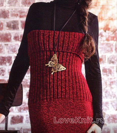 Как связать спицами платье-бюстье