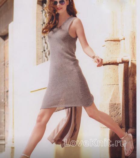 Как связать спицами платье-майка без рукавов