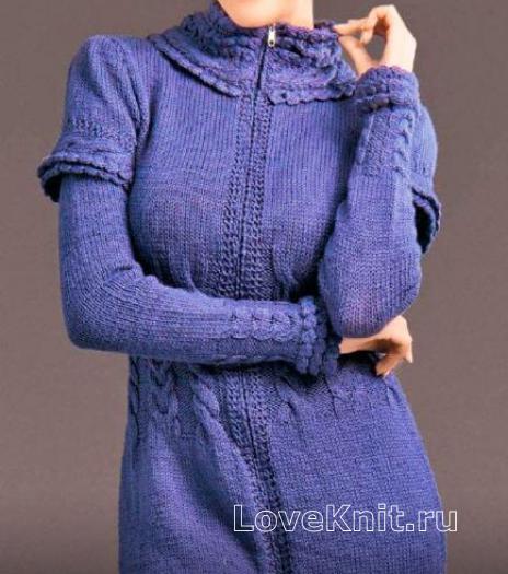 Как связать спицами платье на молнии с воротником стойкой