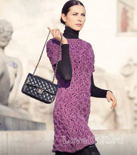 Как связать спицами платье с рельефным узором