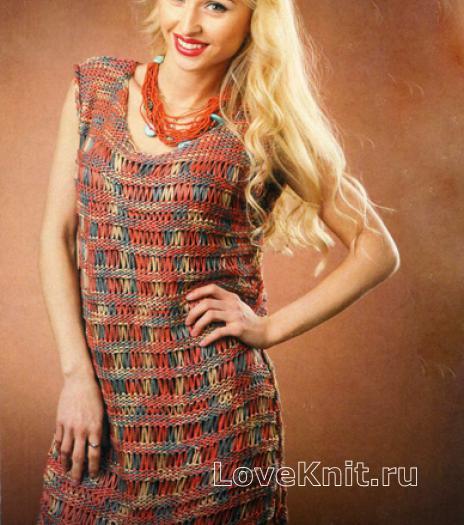 Как связать спицами платье без рукавов из ленточной пряжи