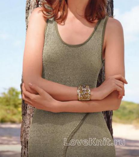Как связать спицами платье-сарафан с разрезом