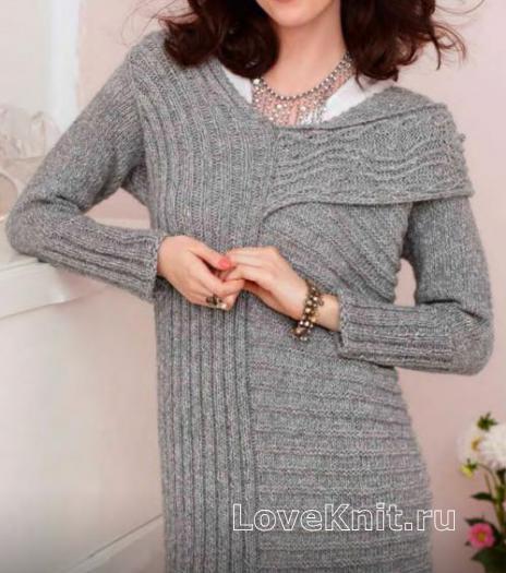 Как связать спицами платье в продольную и поперечную полоску с косами
