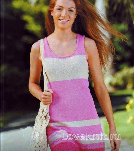 Как связать спицами полосатое платье без рукавов