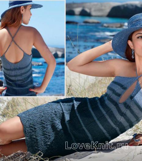 Как связать спицами полосатое платье сарафан с открытой спиной и вырезом капля