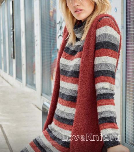 Как связать спицами полосатое теплое платье и удлиненный жилет