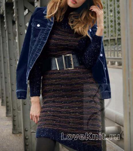Как связать спицами приталенное цветное платье с асимметричным подолом