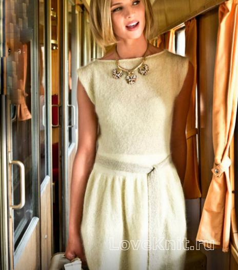 Как связать спицами приталенное платье с широкой юбкой