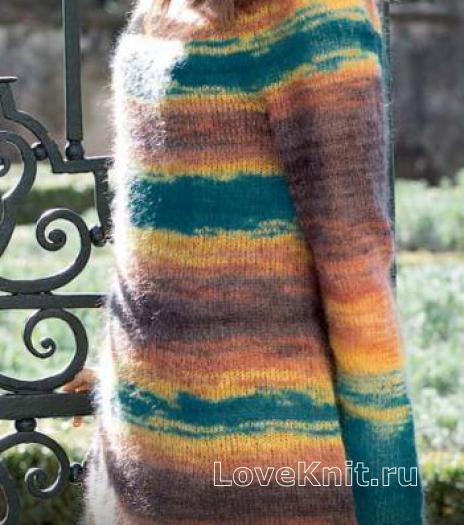 Как связать спицами разноцветное платье с круглой кокеткой