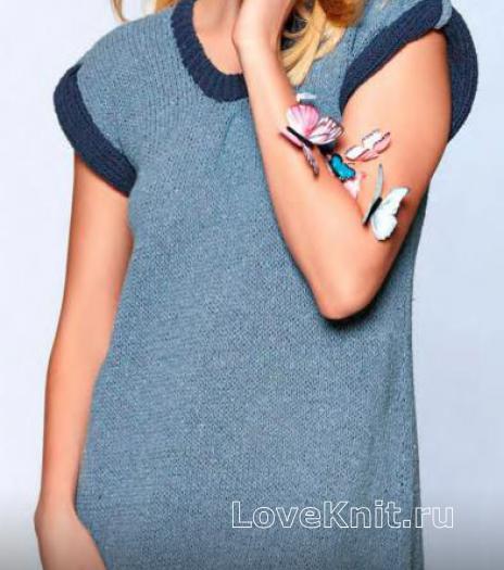 Как связать спицами сарафан с контрастной отделкой и накладными карманами