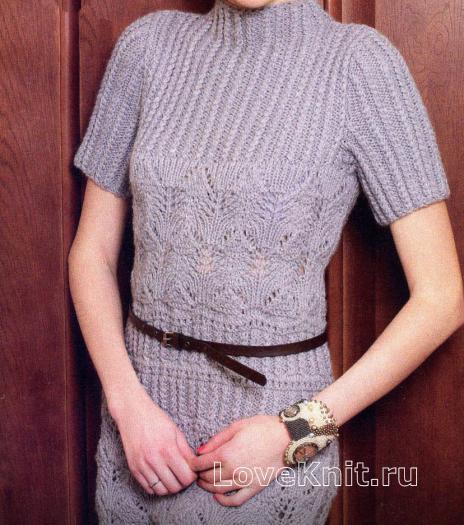 Как связать спицами серое платье с ажурным узором