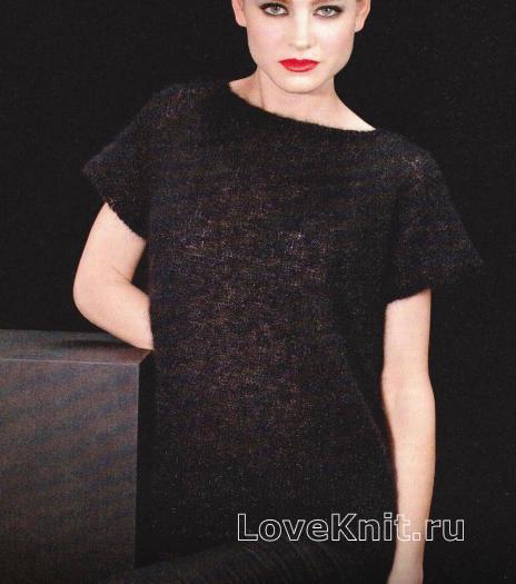 Как связать спицами стильное черное платье