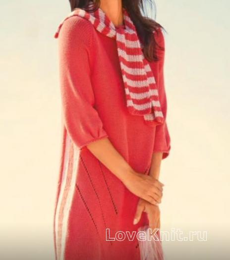 Как связать спицами свободное платье с ажурным рисунком и шарф-воротник