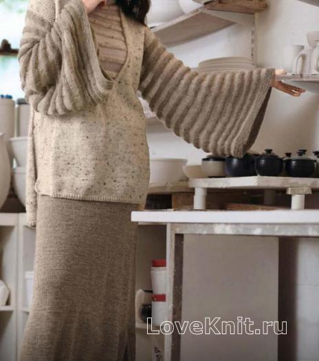 Как связать спицами туника с широкими рукавами и длинная юбка с жемчужным узором