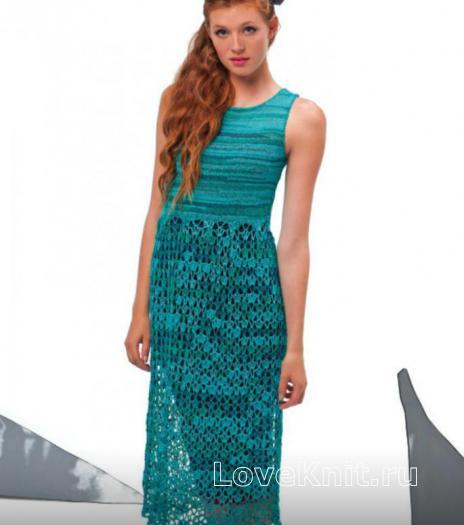 Как связать спицами удлиненное платье с ажурной юбкой