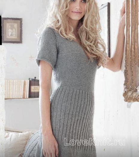 Как связать спицами вязаное платье с коротким рукавом