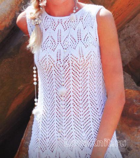 Как связать спицами вязаное платье без рукавов с узором