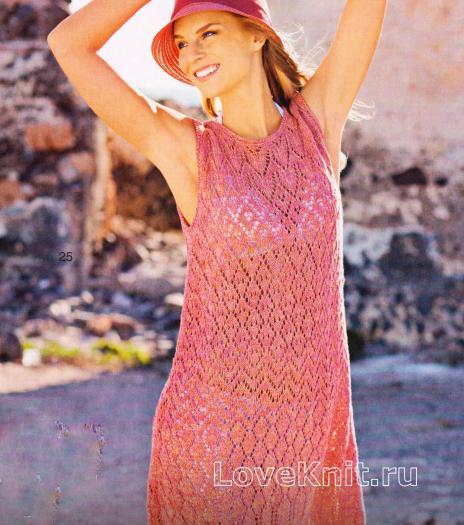 Как связать спицами вязаное розовое платье без рукавов