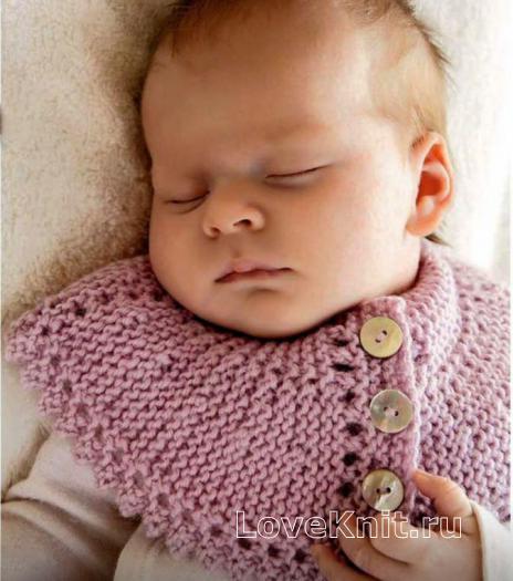 Как связать  манишка для младенца на пуговицах
