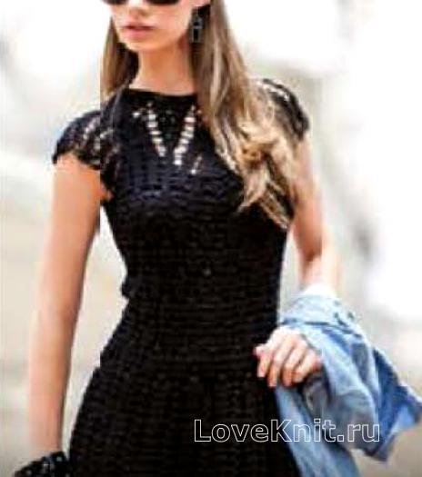 Как связать спицами ажурное полупрозрачное платье с коротким рукавом