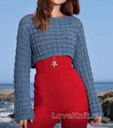 Как связать спицами ажурный короткий пуловер с длинными рукавами