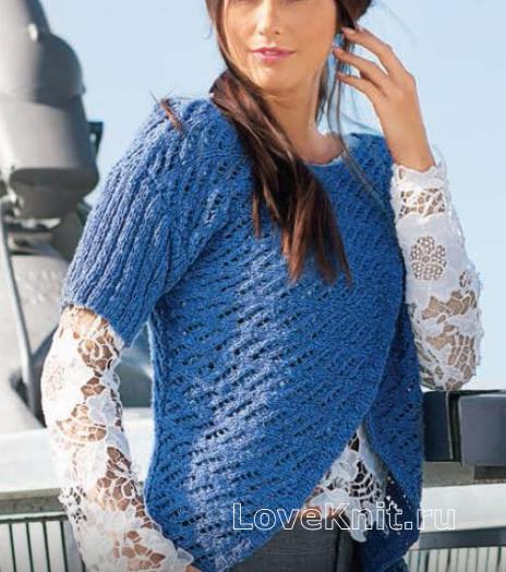 Как связать спицами ажурный пуловер с асимметричным кроем