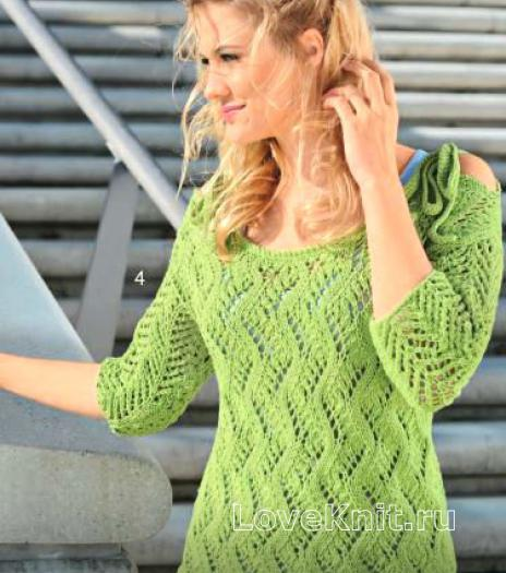 Как связать спицами ажурный пуловер c завязками на плечах