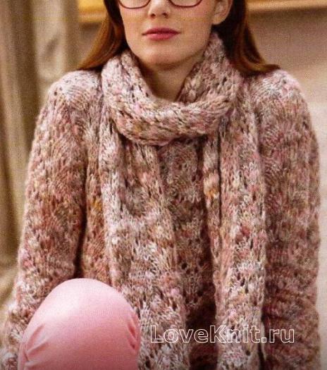 Как связать спицами ажурный пуловер и длинный шарфик