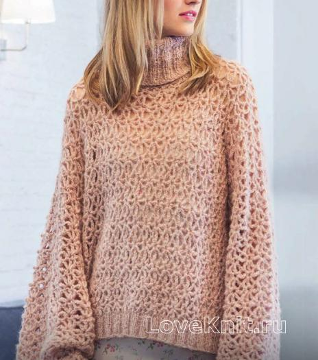Как связать спицами ажурный пуловер с широкими рукавами