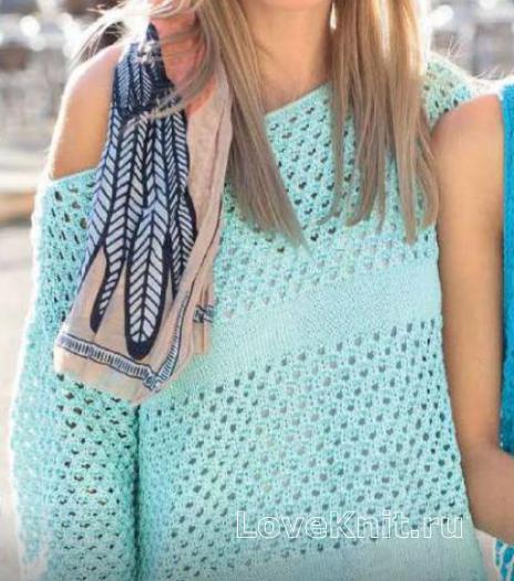 Как связать спицами ажурный пуловер со спущенным плечом
